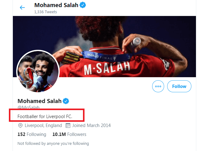 FIFA Award Mo salah  has dropped the 'Egypt' text from his Twitter account
