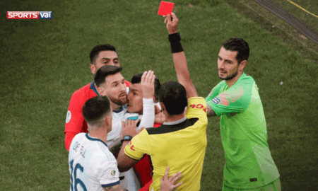 messi and medel fight copa